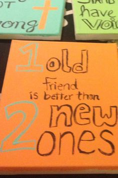 Simple crafty Christmas presents for friends! Painted canvases with quotes that apply to your friendship