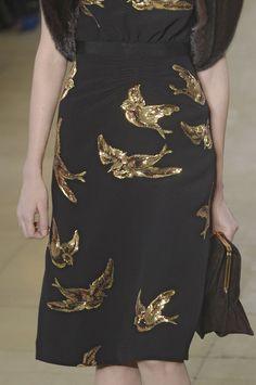 gorgeous Miu Miu gold sequined dress with gold birds