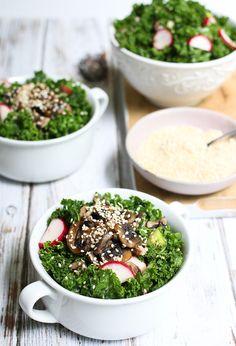 Salad Recipe: Kale Salad w/ Warm Mushrooms & Ginger Dressing #kale #salad #recipes #vegan #glutenfree