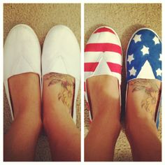 DIY American flag shoes! I used foam stickers for the stars and masking tape to make the stripes! Regular acrylic paint works best!