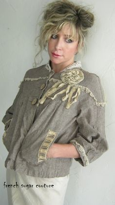 French Sugar Parisian Up-cycled Rustic Vintage Style Boho Jacket with Vintage Lace - Altered Couture.