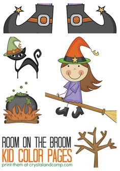 kid color pages room on the broom