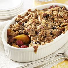 Cherry Nectarine Crisp -- really good. Will make again! Used nectarines, plums and blueberries, and walnuts instead of almonds.