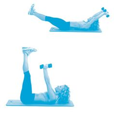 Arm Pull-Over Crunch: Grab a pair of dumbbells & lie on your back with your arms above your head. Lift your legs to a 45-degree angle. Bring your arms over your chest & lift your shoulders up while lifting your legs up perpendicular to the floor. Return to the starting position (keep your legs off the floor). That's 1 rep. Do 12-15.