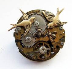 Steampunk clockwork birds and bees brooch by tinyminds on Etsy, $34.00