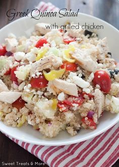 Greek Quinoa Salad with Grilled Chicken (use FF feta to keep it SF and count WPA for the olives)