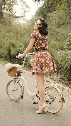 girl bicycle, the dress, retro style, old style bicycle, shoe, floral dresses