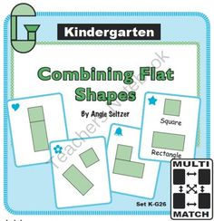 Multi-Match Game Cards KG: Combining Flat Shapes from K-8 MathPaths on TeachersNotebook.com -  (9 pages)  - This set of printable game cards helps students combine shapes to make other shapes (CCSS K.G.6). See my other game card sets. These are great for math centers!