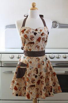 Vintage Inspired Cafe Latte Coffee Full Apron #apron #cute #kawaii #coffee #caffelatte