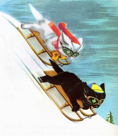 cats, cat sled, vintag christma, pouf, vintag cat, nashvill cat, kitti kitti, sled cat, illustr