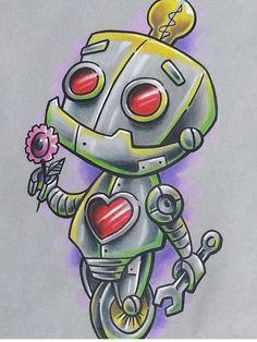 Mother & son robot tattoo ideas