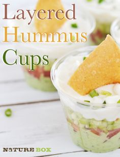 These hummus cups are a great idea for parties because you can pass out individual servings of chips and dip!