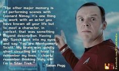 Simon Pegg describing his experience on Star Trek.
