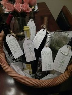Such a cute shower gift. A bottle of wine for each big event of your marriage!