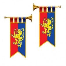 Herald Trumpet Cutouts,  2 in a package, printed on both sides. Wall decorations for use for Vacation Bible School 2013 themes or Armor of God themes.