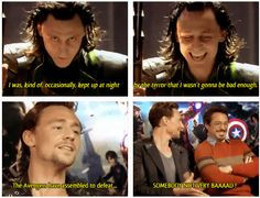 bahahah Tom Hiddleston trying not to be a good guy