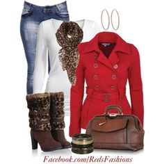 Red coat, created by missred76 on Polyvore
