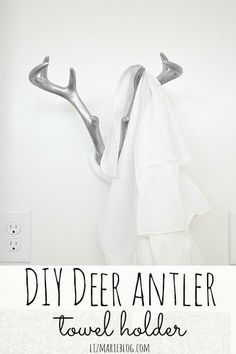 DIY Deer Antler Towel Holder - lizmarieblog.com