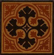 red, gold & black encaustic tile with quatrefoil design