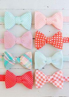 Bow Ties | Groomsmen | Wedding Attire | Mint | Peach | Coral www.foreverbride.com
