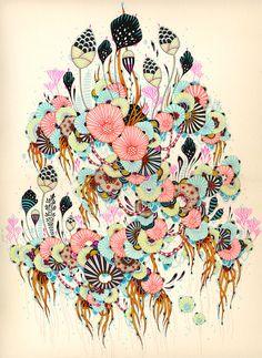 draw, inspir art, yellena jame, lequiv galleri, color patterns, exhibition, intellig art, illustr, flower