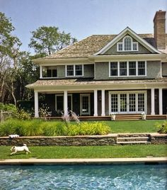 covered porch, pool