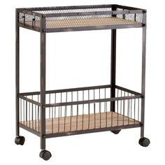 Desmond Serving Cart - so cool! I like that there's a basket on the bottom, so things wouldn't fall as you wheel the cart around