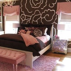 Pink and Brown Bedroom... #home #decor