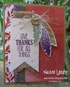 Give Thanks Card with Feathers, Canopy Crafts: Four Feathers of Gratitude {PP213}