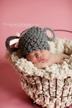 Grey Crocheted Mouse Hat Photography Prop Soft Warm Cute Choose your Color. $23.42, via Etsy.