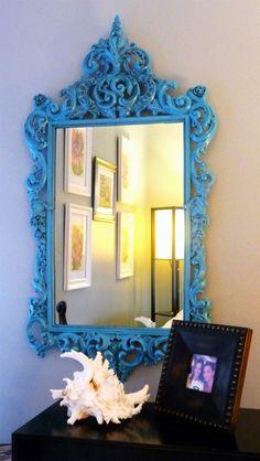 spray paint the frame  around mirror decor, vintage mirrors, idea, antique mirrors, color, paint, diy project, diy mirror, blues