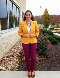 Mustard Color Blazer & Purple Skinny jeans