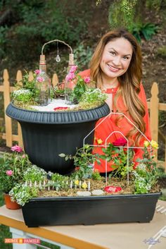 SET YOUR RECORDERS! I created a miniature rose garden with inexpensive market-bought roses and a couple of repurposed bottles standing in as an arbor!   Watch Home & Family on Hallmark, Wed. 2/5 @Sandy Comerford PST.