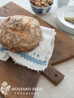 Beautiful cutting board and embroidered towel! - Miss Mustard Seed