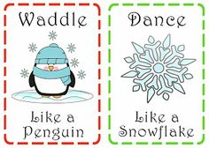 Action movement cards on pinterest american symbols for Christmas gross motor activities