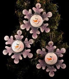 Handpainted Wood Snowman Flakes.