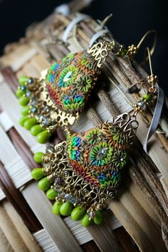 bright Neon colors Lime Green and sparkle Clay by Peelirohini, $86.00