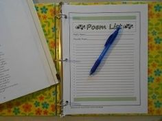 Poetry notebooking pages