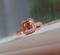 sapphir diamond, champagne, diamond rings, asscher cut, peach sapphir, cut champagn, peaches, champagn peach, rose gold