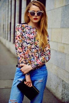 LoLus Fashion: Woow Gorgeous Floral Blouse With Ripped Jeans And ...