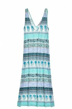 Blue and turquoise printed cotton dress