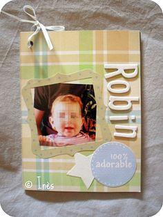 Baby boy very soft clean and simple mini scrapbooking album // Mini album clean and simple très doux pour un bébé garçon // See more at / Voir plus sur : http://scrap-ines.over-blog.com/article-mini-album-robin-103828285.html