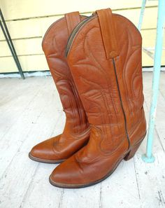 frye boots cowboy cognac leather stacked heel boho by cozystudio, $125.00