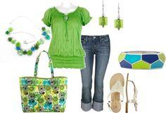 Spring Outfit : Bright Green Top.  Denim Capri.  White Sandals.  Bright Blue & Green Purse / Handbag.
