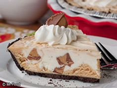 We've got a no-bake dessert you're going to go wild for. All of you peanut butter and chocolate fans better perk up because you won't want to miss out on this easy dessert recipe for Secret Peanut Butter Pie. peanuts, butter cup, dessert recip, cup pie, food, secret peanut, pies, butter pie, peanut butter