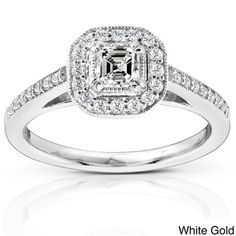 14k White Gold 1/2ct TDW Asscher Diamond Halo Ring (H-I, SI1), $935.00