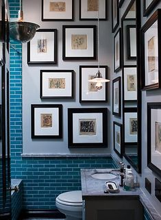A staggered bathroom collage