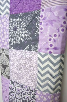 Baby Quilt Baby Girl Quilt Gray Grey Charcoal by NowandThenQuilts