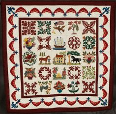 """Mon Petit Baltimore, 41 x 41"""", by Susie Wimer.  She drafted blocks in the style of Baltimore Album quilts. Artist statement: """"I love 19th century style applique, but did not want to make a quilt using someone else's pattern.""""  2012 Road to California."""