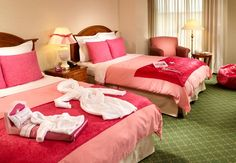Stay at the Marriott in Alpharetta, GA only 5 1/2 miles from the American Girl Doll Boutique & Bistro. Get the AG Deluxe Everything Pink Pkg which includes, pink duvet/towels/matching pink robes for girl/doll during their stay; cookies/milk for girl/doll delivered to room, doll travel bed to keep, free snack in the hotel gift shop, special check-in. $ 121- $ 154 for 1 night stay on weekend. Some dates include movie. http://www.marriott.com/hotels/hotel-deals/atlaw-atlanta-marriott-alpharetta